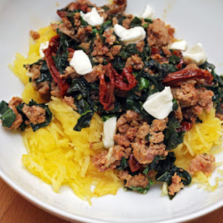 Spaghetti Squash with Sausage, Kale, and Sun-dried Tomatoes