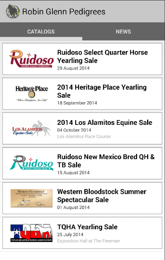 RGP Horse Sale Catalog Phone- screenshot