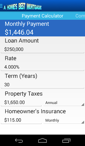 A Home's Best Mortgage Calc