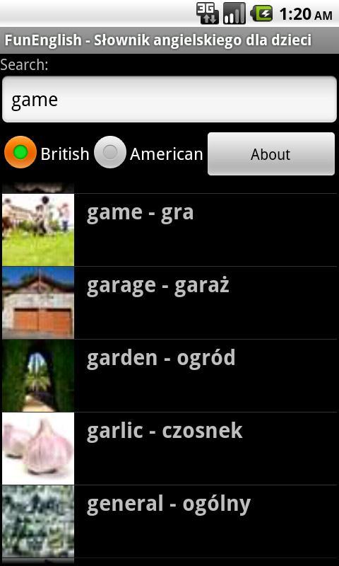 Słownik angielski dla dzieci- screenshot
