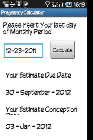 Pregnancy Calculator- screenshot