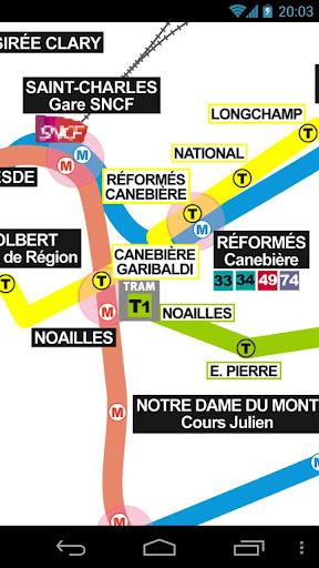 マルセイユメトロやトラムの地図