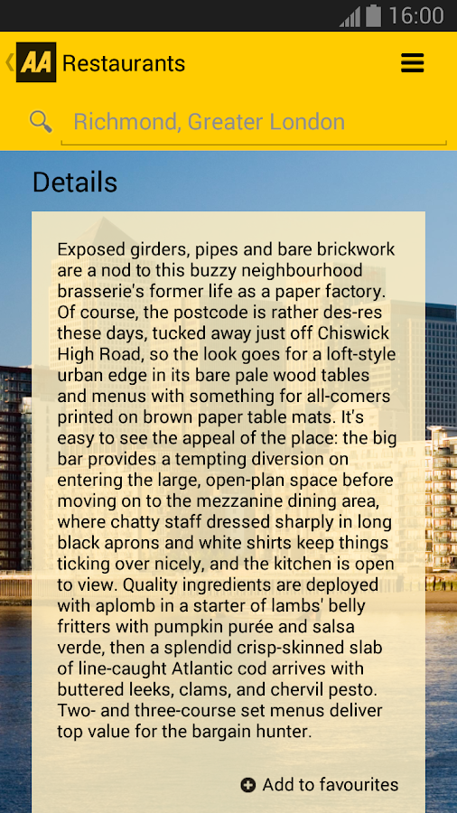 2014 AA Restaurant Guide - screenshot