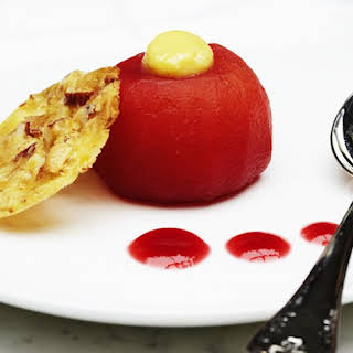 Raspberry Poached Apples With White Chocolate And Fennel Cream.