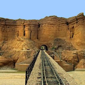 Invincible ! by Agha Ahmed - Landscapes Travel ( hills, railroad tracks, railway, railroad, bridge, landscape, tunnel )