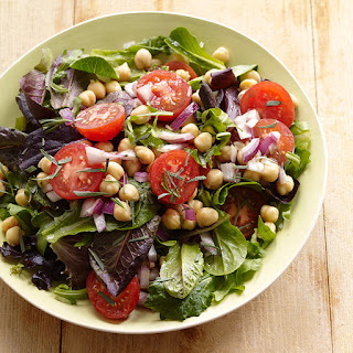 Mixed Green and Chickpea Salad with Dijon-Tarragon Vinaigrette.