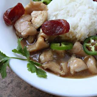 Chicken in Brown Gravy over Rice.