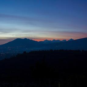 Blue Hour by Pantouw David - Landscapes Mountains & Hills ( bluehour, hill, moment, sunset, mounth )