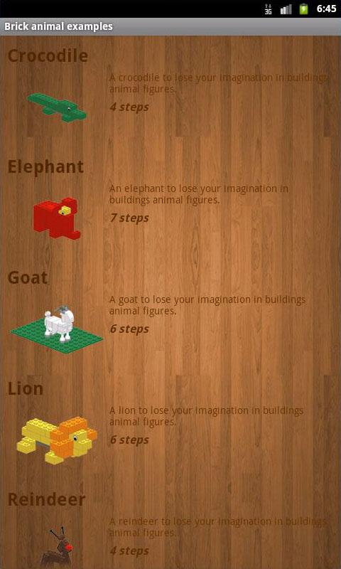 Brick animal examples- screenshot