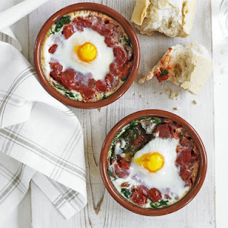 Baked Eggs With Spinach & Tomato.