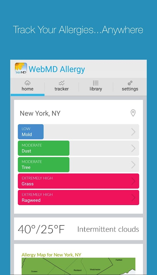 WebMD Allergy- screenshot