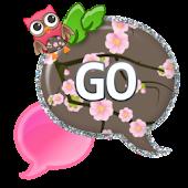 GO SMS - Cherry Blossom Owl