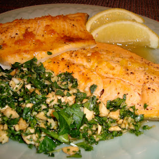 Oven Baked Maple and Citrus Arctic Char with Gremolata.
