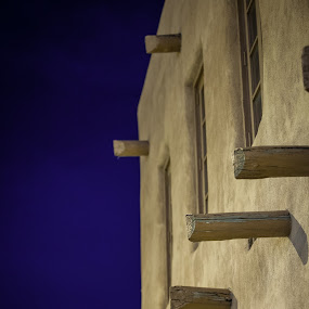 Santa Fe Adobe by David Andrus - City,  Street & Park  Historic Districts ( night photography, adobe, santa fe, new mexico )