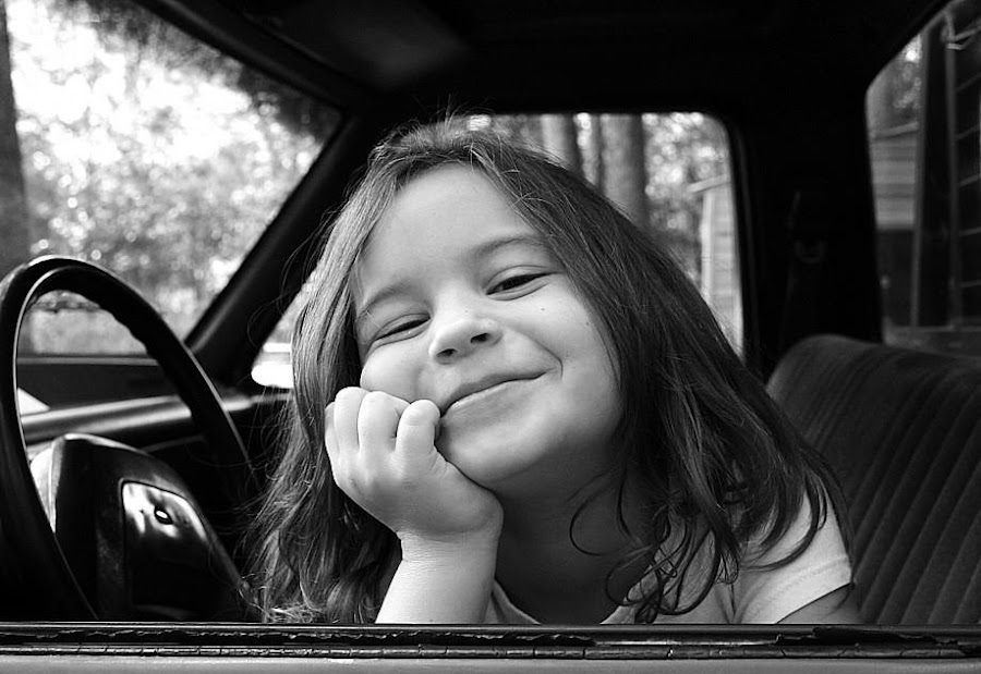 Too Young To Drive by Paul Hopkins - Babies & Children Child Portraits ( , Emotion, portrait, human, people, black and white, b&w, child )