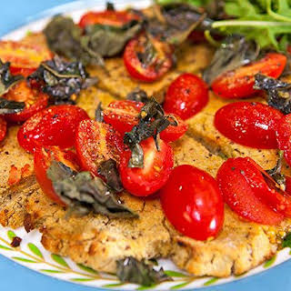 Cauliflower Pizza Base with Tomato, Basil and Olive Oil (vegan, vegetarian, gluten and dairy free).