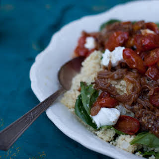 Beautiful Bulgar and Spinach Pilaf with Labneh and Chili Roast Tomatoes.