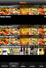 Carmelina Restaurant App - Menu Page