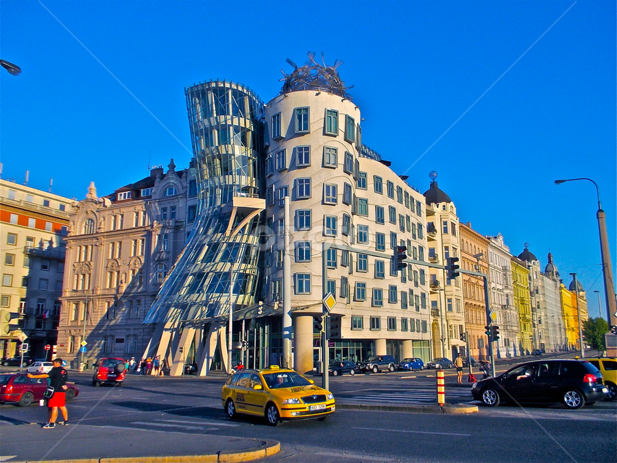 by Felice Bellini - City,  Street & Park  Street Scenes ( taxi, europe, fred and ginger, pragha, dancing house, praga, prague,  )