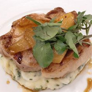 Chargrilled Pork Steaks With Roast Pears And Champ.