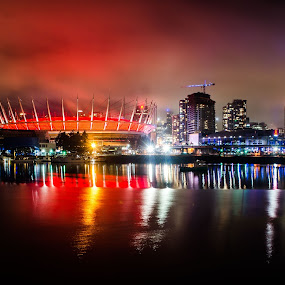 Vancouver's Inner Harbour by Cory Bohnenkamp - City,  Street & Park  Night ( rogers arena, night, inner harbour, vancouver, bc place, , city at night, street at night, park at night, nightlife, night life, nighttime in the city, #GARYFONGDRAMATICLIGHT, #WTFBOBDAVIS )