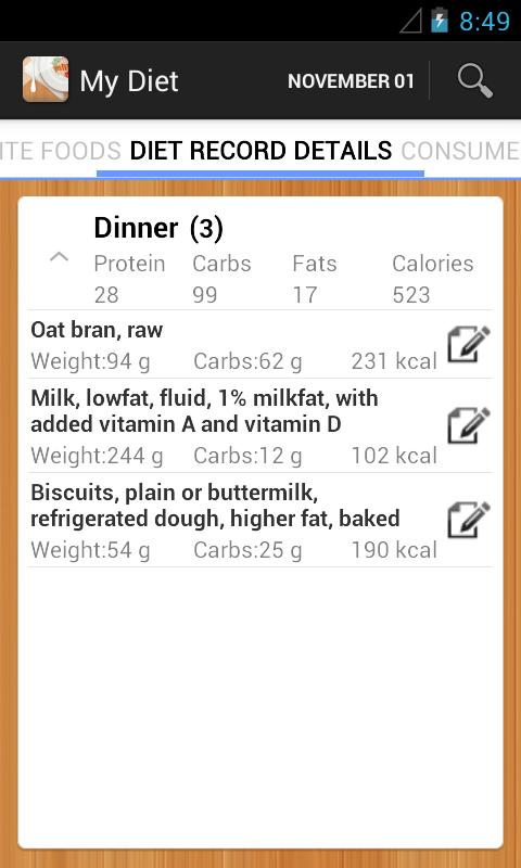 Diet Calories Vitamins Counter - screenshot
