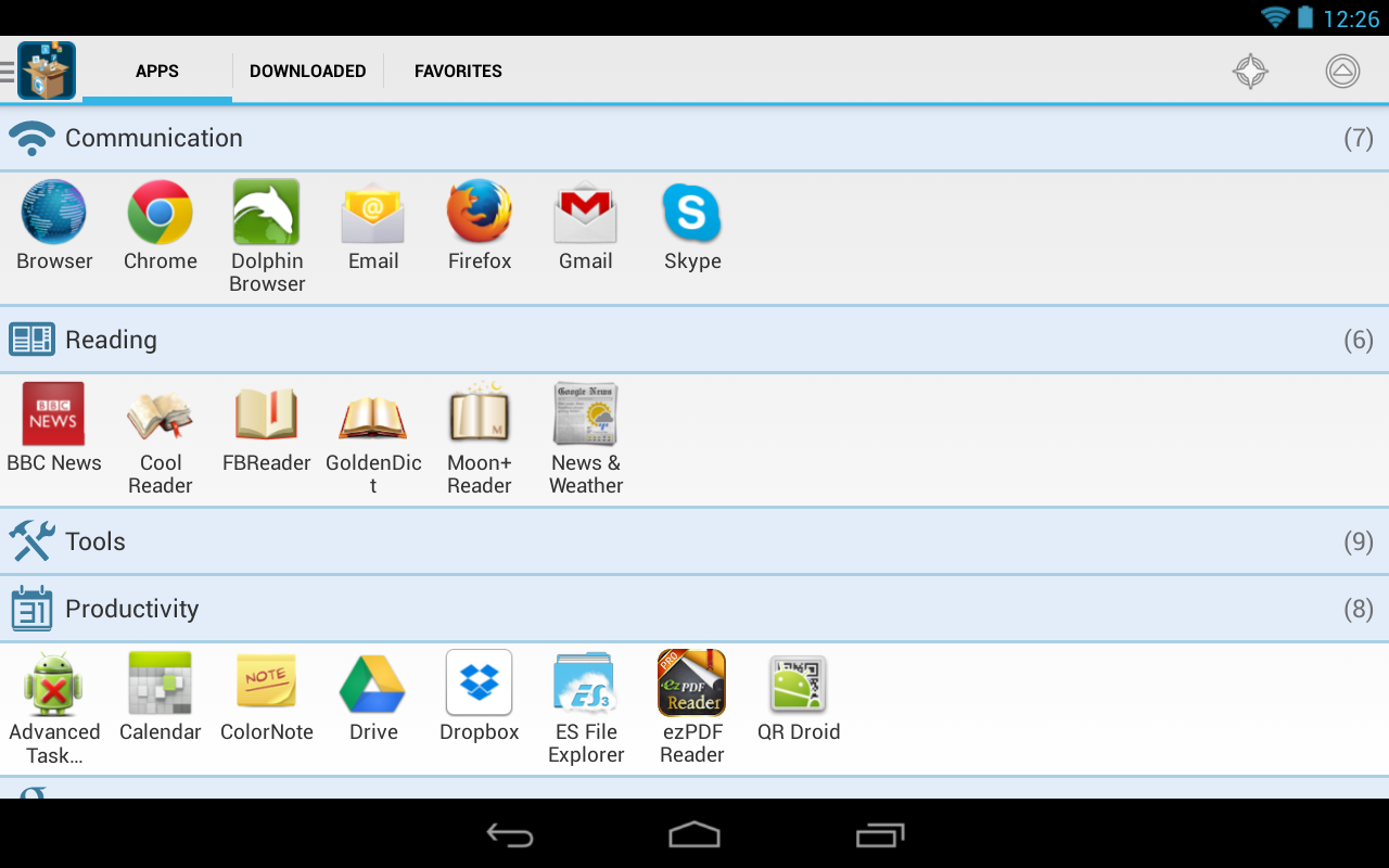 Glextor App Manager Organizer - screenshot