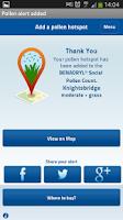 Screenshot of BENADRYL®Social Pollen Count