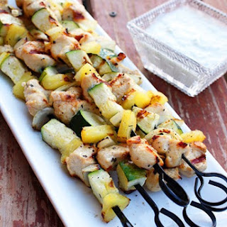 Mediterranean Chicken Kebabs with Tzatziki Sauce.