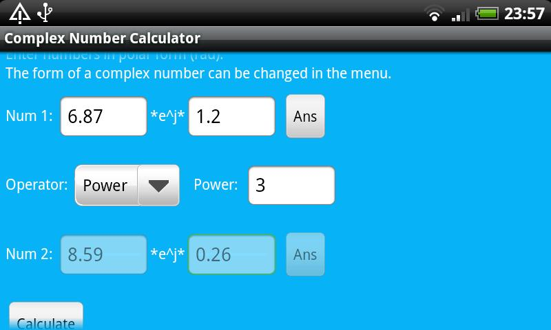 Complex Number Calculator - screenshot