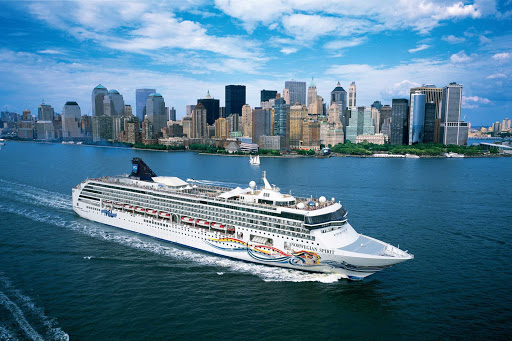Norwegian Spirit, at the mouth of the Hudson River, sails past New York's magnificent skyline.