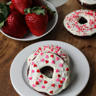 Red Velvet Donuts with Cream Cheese Icing.