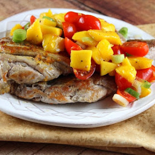 Orange- Ginger Pork Cutlets with Mango- Tomato Salsa