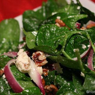 Feta and Walnut Spinach Salad with Basil Dressing