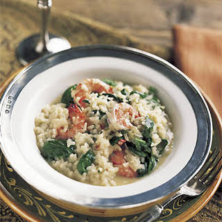 Shrimp Risotto with Baby Spinach and Basil.