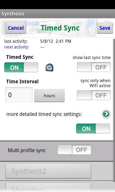 Synthesis SyncML Client PRO- screenshot