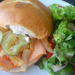 Ham and Chorizo Telera Bread Sandwich.