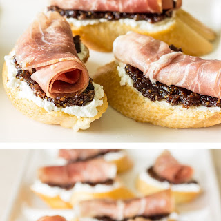 Crostini with Proscuitto, Fig Jam, & Goat Cheese.