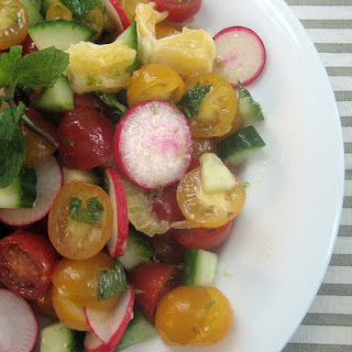 Meyer Lemon, Radish, Cucumber and Tomato Salad with Citrus Dressing.