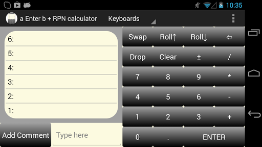 a Enter b RPN Calculator