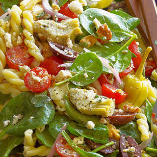 Greek Spinach-Salad Pasta with Feta, Olives, Artichokes, Tomatoes and Pepperoncini.