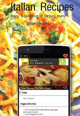 Italian Recipes Free App - screenshot