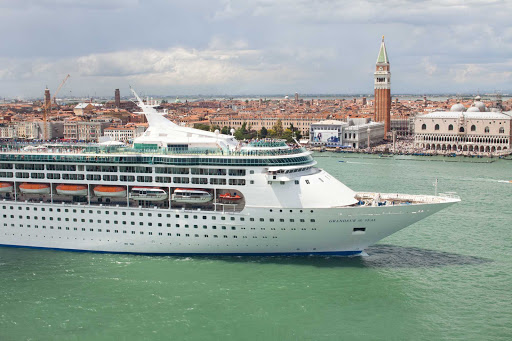 Grandeur-of-the-Seas-Venice-San-Giorgio - Grandeur of the Seas sails past the island of San Giorgio Maggiore, Venice, Italy. The ship now sails to the Caribbean, Canada and New England.