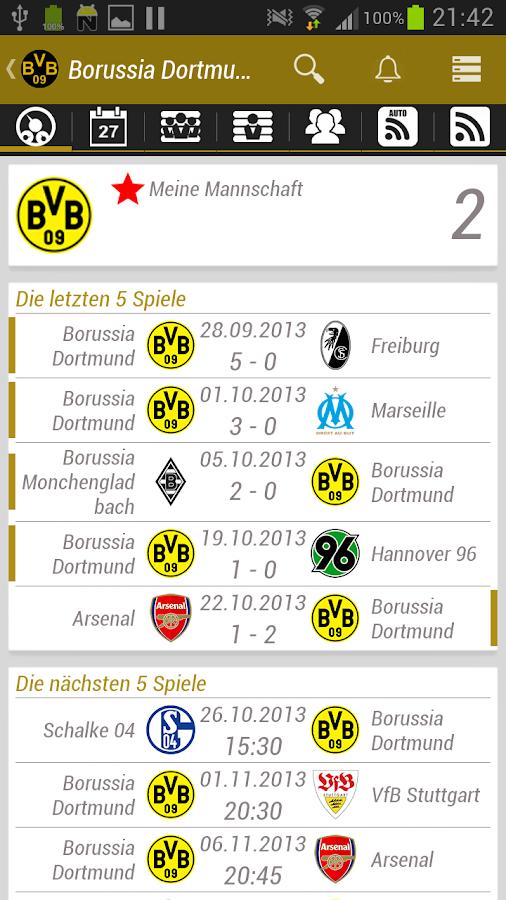 Borussia Dortmund BVB App - screenshot