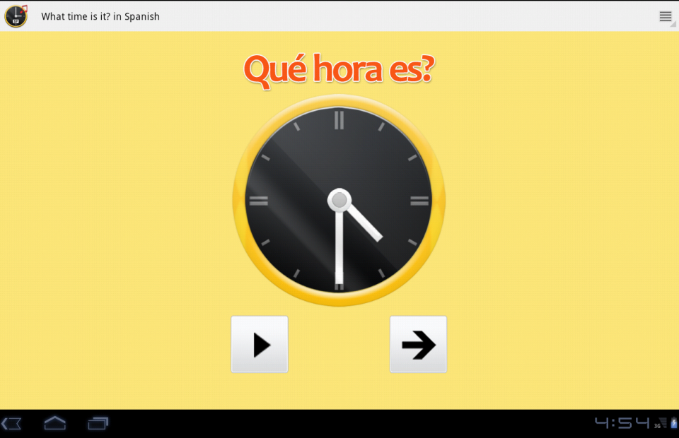 What time is it? in Spanish.- screenshot