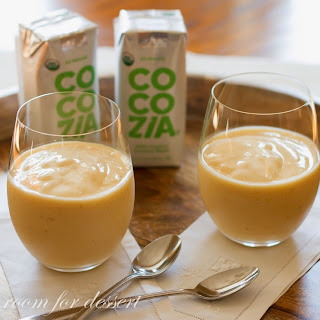 Orange, Banana And Peach Smoothie With Coconut Water.