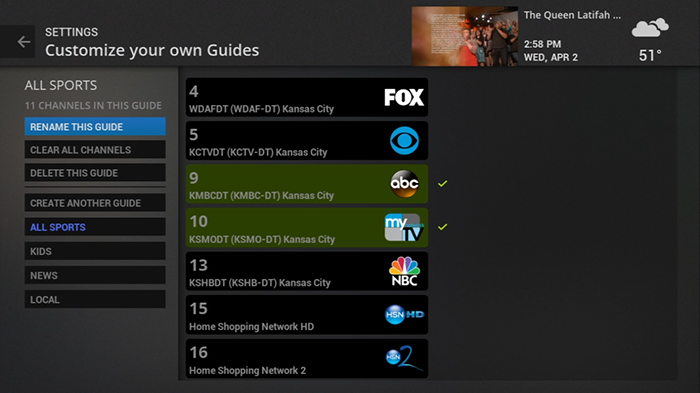 Customize guides with legacy Fiber TV