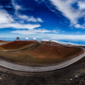 Mauna Kea Observatory panorama by Matt Mcclenahan - Landscapes Mountains & Hills ( clouds, mountain, peak, infrared, windy road, mauna kea, astronomy, panorama, observatory for optical, blue sky, pano, summit, hawaii )