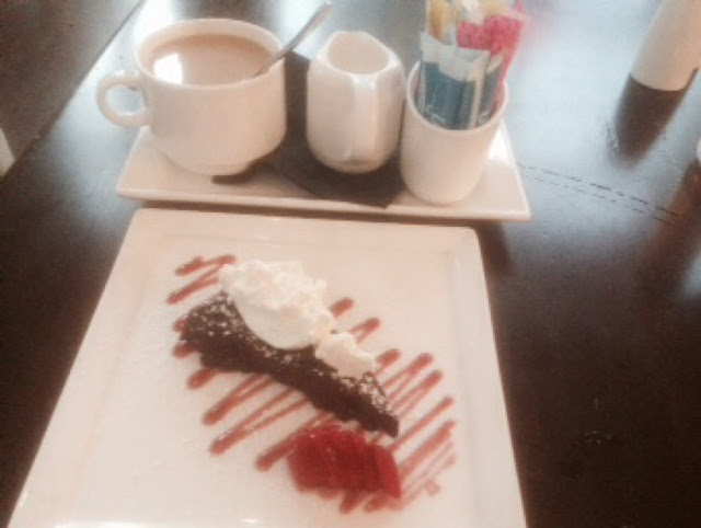 Chocolate torte and coffee service