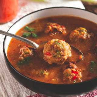 Pork And Chorizo Meatballs With Pozole Broth.